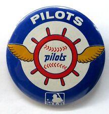 """scarce large size 1969 SEATTLE PILOTS baseball 3.5"""" pinback button *"""