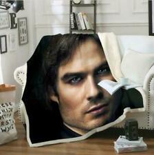 Damon Salvatore Vampire Diarie 3D Sherpa Blanket Warm Soft Sofa Bed Throw Fleece