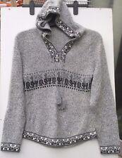 Femmes Sweat à Capuche Gris Pull Sweater Haut avec empoignades évasée bas
