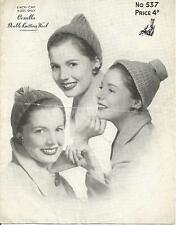 VINTAGE  KNITTING PATTERN 3 HATS