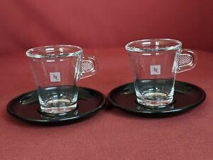 VIEW Nespresso demitasse Set of 2 Espresso Glass Cups Black melamine Saucers