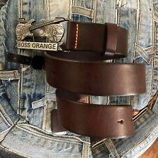 HUGO BOSS Orange Leather Belt Brown Sz  95/ 36 BNWT Handmade  NEW