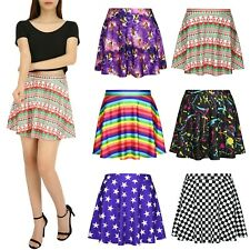 HDE Skirts for Women High Waist Mini Skater Skirt Casual Flared Printed Skirt
