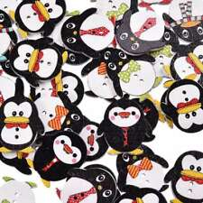 50Pcs Lovely Penguin Wood Button 2 Holes Mixed Color Apparel Sewing 24*23mm