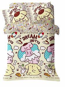 PomPomPurin Sanrio Pom Pom Purin Fitted Sheet Pillow Case Duvet Cover Bedding
