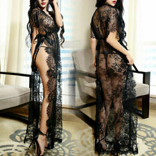 Women Sexy-Lingerie Lace Floral Babydoll Sleepwear Nightgown Robe Long Dress