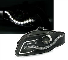 Headlights with LED Daytime Running Lights for AUDI A4 B7 in Black TFL DRL