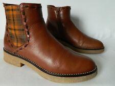Mellow Yellow boots bottes bottines zip crêpe CUIR marron fauve 38 TBE