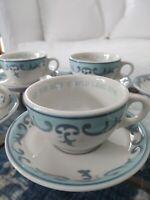 Vtg 1960s Jackson China Set 6 Auld Lang Syne Cups & Saucers Restaurant Ware