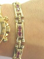 """Natural Oval Ruby Diamond Yellow Gold Tennis Bracelet 14KT 7"""" 6.75Ct"""