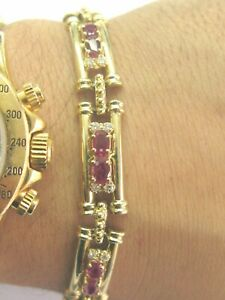 """Natural Oval Ruby & Diamond Tennis Bracelet 14KT Yellow Gold 7"""" 6.75Ct"""