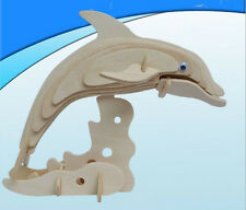 Dolphin Dog 3D Jigsaw DIY Realistic Wooden Model Kit Toy Puzzle Christmas Gift