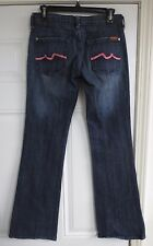 Seven 7 For All Mankind Jeans Women's Pink Flare Size 26 x 33 Blue Pants Pink