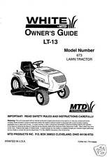White LT-13 Lawn Tractor Owners Manual Model 673