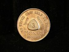 Rare Alcoholics Anonymous Aa Vintage 3 month Bronze Medallion - Token-Coin 194