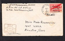 Sgt E P Hermansen New Guinea APO 40 Officer Signed Censor 1944 Air Mail WWII q6