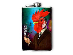 Red Rooster Smoking a Pipe Decorated Stainless Steel Flask 8oz FN494