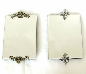 NEW GOLD BRASS OR SILVER TONE FLEUR DE LIS VINTAGE+CRYSTALS VANITY TRAY MIRROR