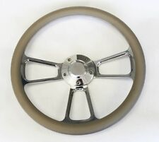 "60-69 Chevy Pick Up Truck Steering Wheel Grey and Billet 14"" Chevy Bowtie Cap"