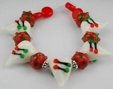 HANDMADE LAMPWORK LOOSE GLASS BEADS Christmas Heart Red Green Jewelry Making