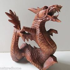 "DRAGON LARGE 8"" High  SOLID WOOD STATUE Hand Carved in Bali, very detailed!"