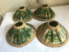 Vintage Lamp Shade Green Floral Fabric Cream Braid French Home Boudoir decor 1pc
