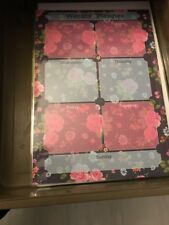 Laminated Weekly Planner Pink And Blue Roses  (23) Includes Free Chart