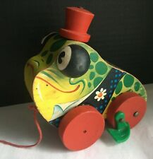 Fisher-Price Vintage 1956 Gran'Pa Frog Wooden Pull-Toy #464 Grandpa