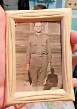 ANTIQUE WWI WORLD WAR 1 CELLULOID FRAMED SOLDIER PHOTO