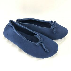 Dearfoams Womens Slippers Ballet Flats Fabric Soft Slip On Navy Blue Size S 5-6