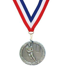 Rugby Laurel 50mm Medal (Gold, Silver, Bronze) & Ribbon + FREE Engraving