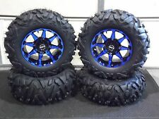 "POLARIS RZR 570 / 800 27"" QUADKING 14"" HD6 BLUE ATV TIRE & WHEEL KIT BIGGHORN"