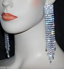 "WEDDING SILVER RHINESTONE CRYSTAL 5.1/2"" CHANDELIER CLIP EARRINGS"