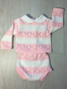 Baby  Girls Pink Knitted Pink & white striped romper & top set Lace 0-9 Months