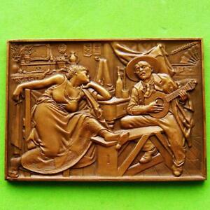 Art 1910 Painting Fado by Famous Painter José Malhoa HUGE Bronze Plaque Medal!