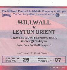 BIGLIETTO-Millwall V Leyton Orient 20.02.07 EXECUTIVE BOX