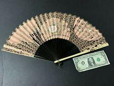 Antique Vtg Hand Painted Iridescent Women's Folding Paper Hand Fan
