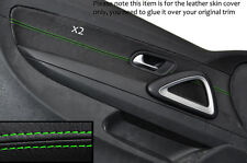 GREEN STITCHING 2X FRONT DOOR CARD TRIM LEATHER COVERS FITS VW SCIROCCO 08-14