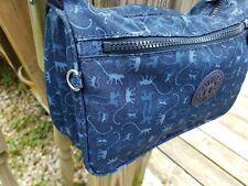 KIPLING Nylon Medium Purse Shoulder Bag Handbag Adjustable Zipper Blue Monkeys