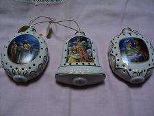 Danbury Mint 3 Nativity Illuminated Ornaments Mary & Joseph & No Roon at the Inn