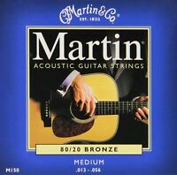 Martin M150 Guitar Strings Acoustic Steel Medium 80 / 20 BRONZE