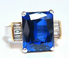 10.62ct Lab Blue Sapphire Diamonds Ring 14 Karat