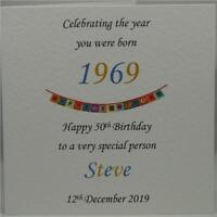 50th Year 1969 You Were Born Personalised Son Father Grandad Male Birthday Card