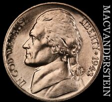 1943-P Jefferson Nickel- Lustrous Gem Brilliant Uncirculated  #X6616