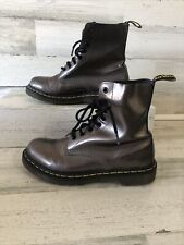 Dr. Martens Ladies Pewter Smooth Leather Pascal Boots Size 8