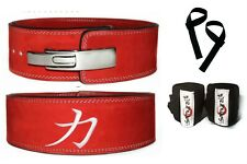 Strength Shop 10MM RED POWERLIFTING LEVER BELT (LARGE) + Wrist Wraps + Straps