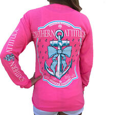 Southern Attitude Bow Anchor Pink Long Sleeve Shirt