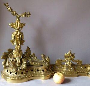 H 53 Cm !! Importante Devanture De Cheminée, Chenets Napoléon III En Bronze Doré