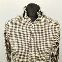 Polo Ralph Lauren Mens Vintage THICK Shirt SMALL Grey Classic Fit Check Gingham