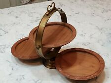 Vintage Wood Brass Serving Tray Three Tier Floral Collapsible Folding India